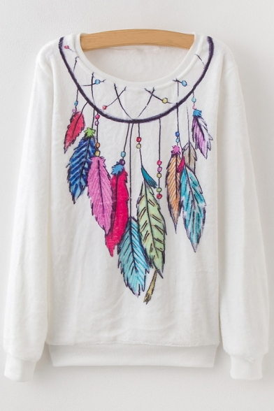 Tribal Print Feather Pattern Long Sleeve Round Neck Sweatshirt