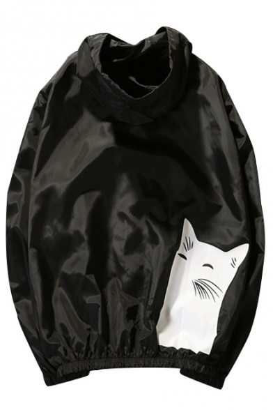 Zipper Coat Printed and Fashion Contrast Placket Bone Fish Cat Hooded gqfnYPw1