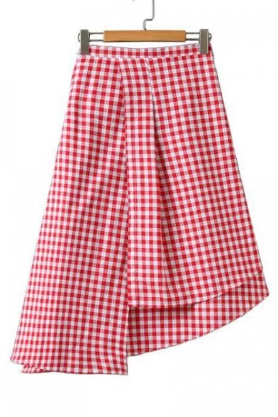High Low Hem Zip Side Plaid Color Block Asymmetric Skirt Beautifulhalo Com