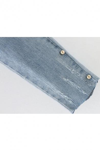 High Waist Simple Plain Fashion Beaded Embellished Side Skinny Jeans