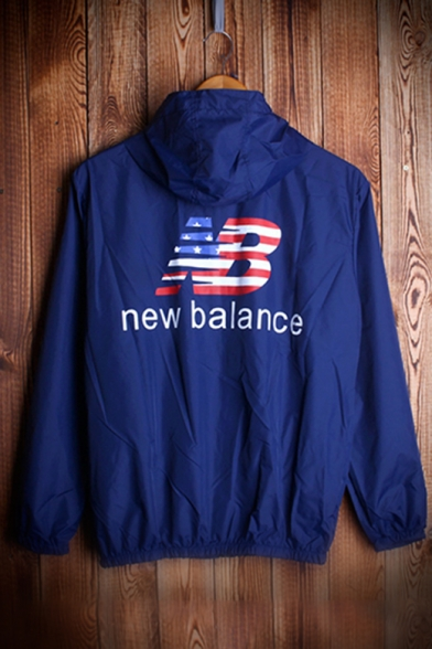 Collection Long Couple New Sun Zip Coat for Leisure Up Sleeve Letter Printed Hooded drqIqg