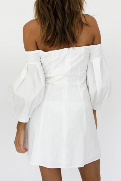 Sexy Off The Shoulder Long Sleeve Grommet Lace-Up Plain Mini A-Line Dress