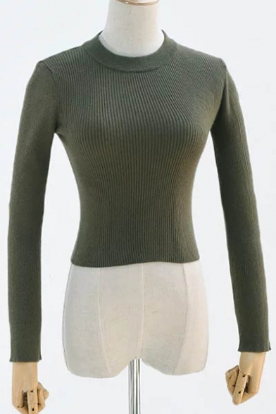 Cropped Pullover Long Sweater Sleeve Neck Simple Plain Round nBqXYxO