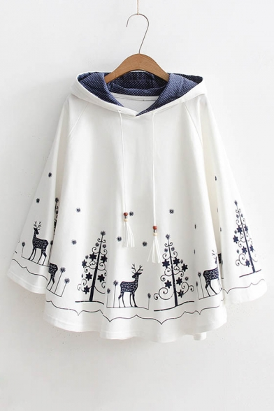 Cartoon Pattern Hem Long Sleeve Casual Loose Cotton Cape Hoodie