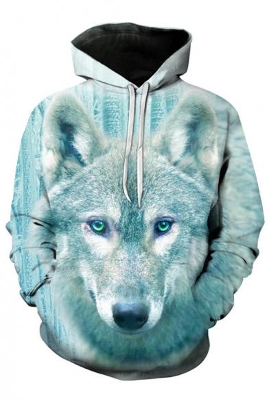 Chic Digital Wolf Pattern Long Sleeve Casual Leisure Unisex Hoodie