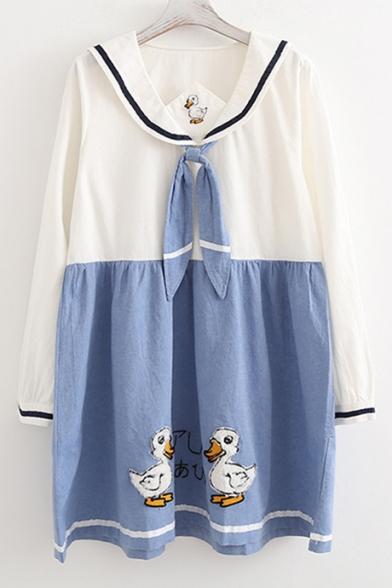 Cute Cartoon Duck Embroidery Color Block Long Sleeve Mini Dress