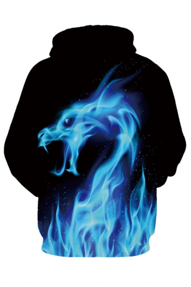 Long Hoodie Digital Pockets Sleeve Pattern Fire Dragon with Unisex YY4qUAt