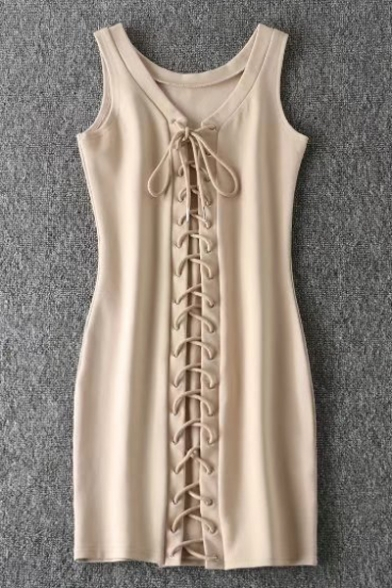 Sexy Sleeveless Neck New Bodycon Lace Up Mini Tank Dress Plain V adUUTwxq