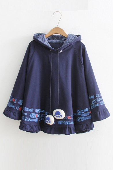 Hooded Coat Long New Sleeve Pattern Hem Cape Trendy Fish Cartoon P14qSz