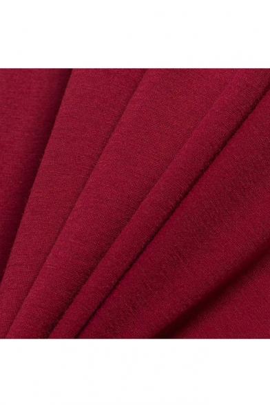 New Trendy Round Neck Short Sleeve Plain Midi Asymmetrical Dress with Pockets