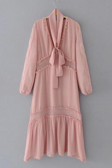 Bow Tied V Neck Long Sleeve Chic Lace Inserted Plain Midi Swing Dress