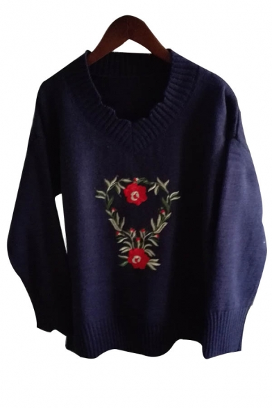 Embroidery V Cutout Pullover Sweater Floral Neck Sleeve Long Casual 6wACqtg