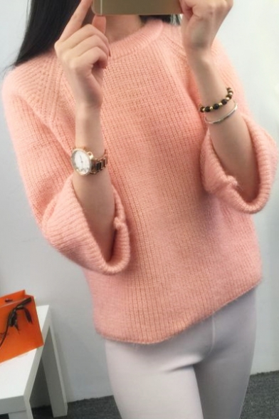 Casual Long Neck Sweater Leisure Sleeve Pullover Round Simple Plain qqBOrg