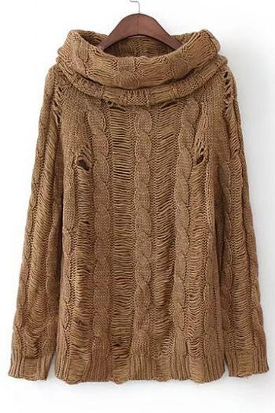 Cutout Long Sleeve High Neck Plain Pullover Sweater ...