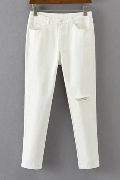 Fashion Cut Out Knee High Waist Simple Plain Skinny Pants
