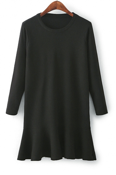 Fashion Round Neck Long Sleeve Ruffle Hem Simple Plain Mini Knit Dress
