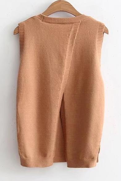 b8b9abec59 Fashion Split Back Sleeveless Round Neck Plain Pullover Sweater -  Beautifulhalo.com