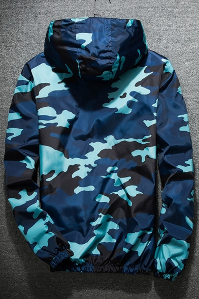 Camouflage Coat Block Sleeve Hot Pattern Zip Hooded Fashion Up Color Long qpBxwtvf