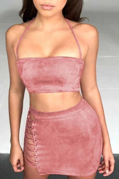 Hot Fashion Sexy Plain Halter Neck Cropped Top with Mini Bodycon Skirt, Pink;army green, LC448495