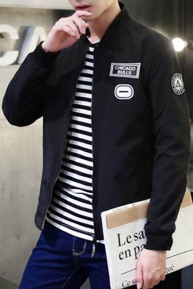Letter Jacket Up Up Zip Casual Stand Collar Printed Bomber Leisure PwaPqRT