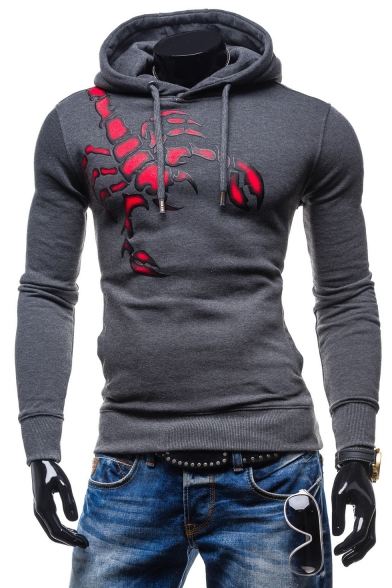 New Arrival Scorpion Pattern Long Sleeve Sports Fitted Hoodie