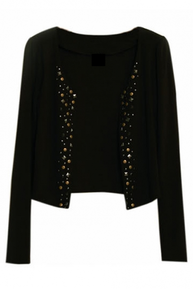 New Collection Fashion Studded Embellished Collarless Long Sleeve Coat