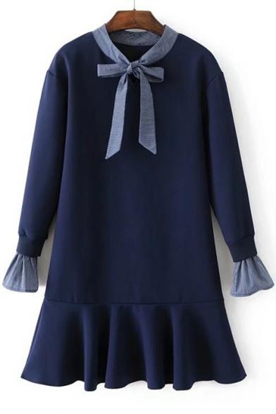 Round Neck Bow Tie Front Long Sleeve Fashion Ruffle Hem Mini Swing Dress