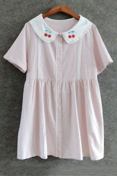 Cherry Embroidered Collar Short Sleeve Buttons Down Mini Smock Dress