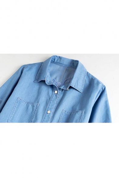 Chic Letter Floral Embroidered Back 3/4 Sleeve Lapel Collar Midi Denim Shirt Dress