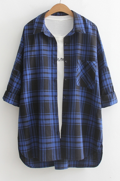 Classic Plaids Pattern Lapel Collar Long Sleeve Cotton Shirt with Single Pocket