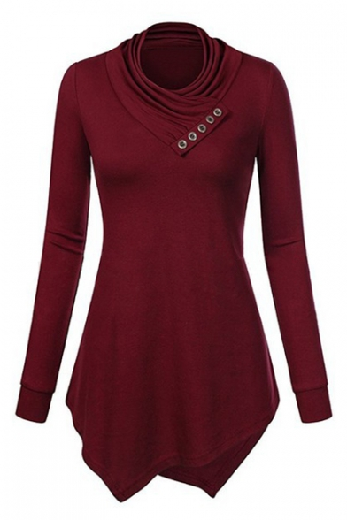 b413124cfcc2fd Hot Fashion Simple Plain Long Sleeve Round Neck Asymmetrical Hem T-Shirt