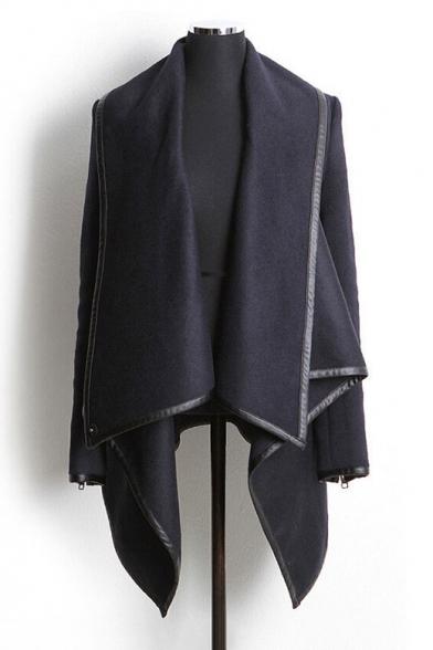 Neck Plain Coat New Long High Fashion Simple Sleeve Arrival CWvzqxB