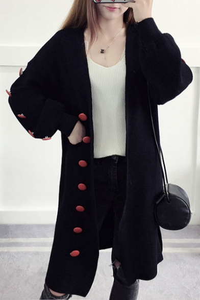 New Stylish Contrast Buttons Embellished Long Sleeve Plain Cardigan
