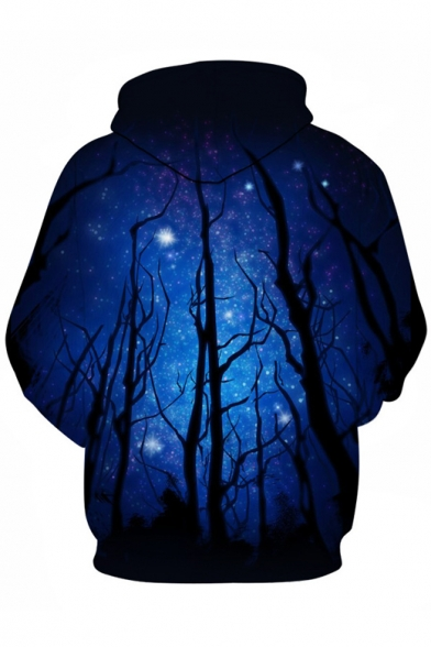 Casual Stylish Galaxy Sleeve Hoodie Forest New Long Digital Pattern gSx0d0w