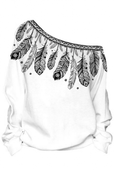 Printed Long Off Sexy Pullover Sweatshirt Sleeve Shoulder Feather the qIaqnX1w