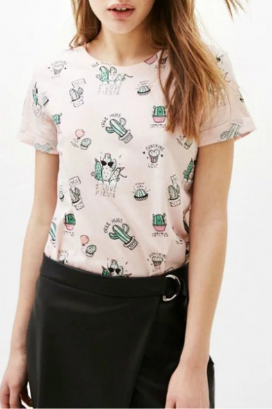 Summer's Cactus Pattern Round Neck Short Sleeve Pullover T-Shirt
