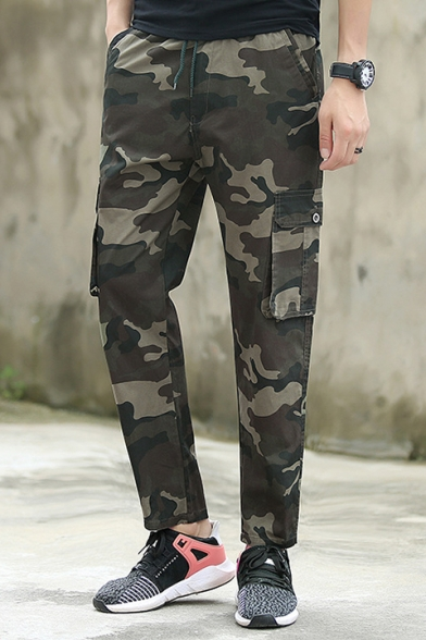 Summer's Classic Camouflage Printed Drawstring Waist Casual Pants