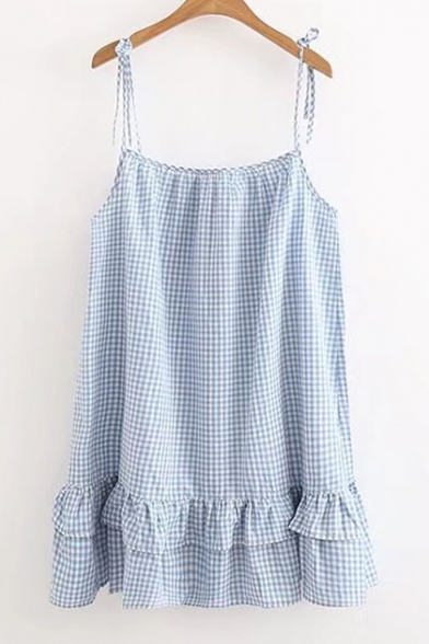 4057e48cfe0a Summer Spaghetti Straps Sleeveless Ruffle Hem Plaid Mini Cami Dress -  Beautifulhalo.com