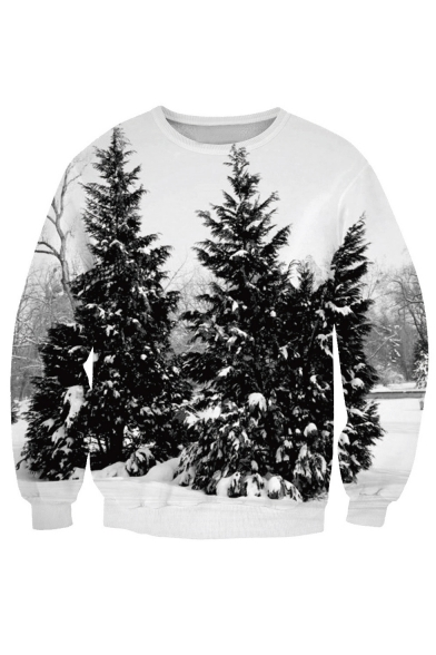 Field Sweatshirt Round Long Neck Chic Digital Sleeve Pattern Snow Trees EvvWTq6w