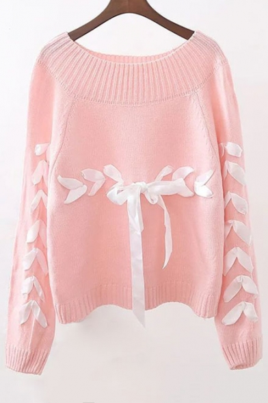 Sweater Sleeve Long Neck Embellished Tie New Fashion Ribbons Round Pullover zqHw0HFax