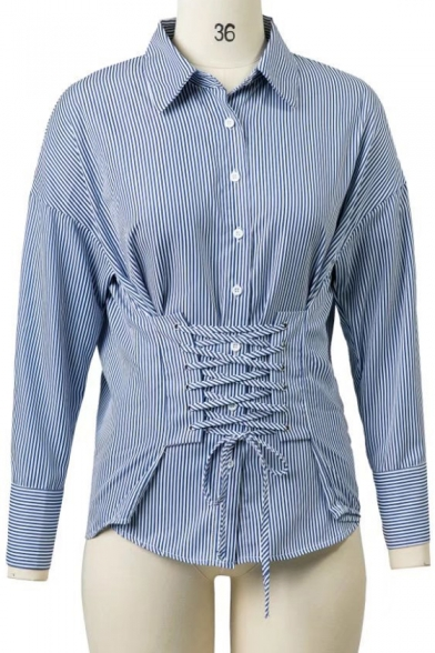 New Stylish Lace-Up Front Lapel Dropped Long Sleeve Single Breasted Shirt