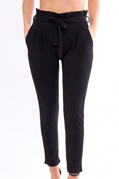 New Trendy Simple Plain Tied Waist Casual Leisure Tapered Pants with Pockets