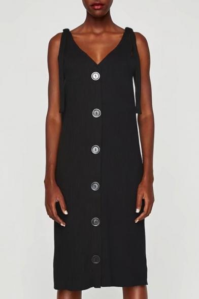 Sexy Tied Bow Straps V-Neck Sleeveless Single Breasted Plain Midi Cami Dress