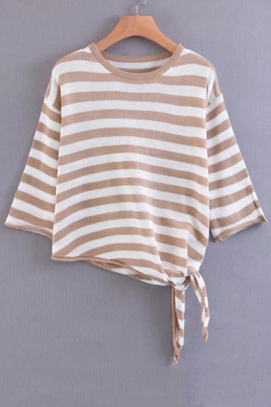 Length Knotted Asymmetric 3 Color Striped Sleeve Hem 4 Sweater Block w0BExF