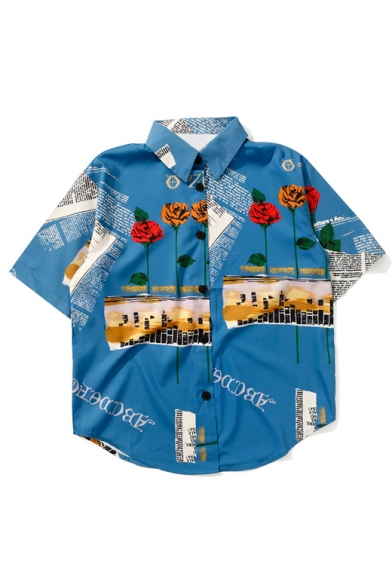 Summer's Holiday Floral Pattern Fashion Lapel Collar Short Sleeve Shirt