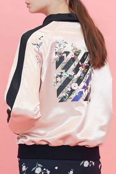 Women's Floral Printed Stand Up Collar Zip Fly Bomber Jacket