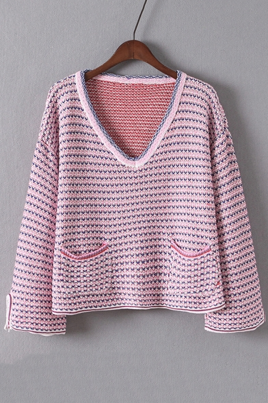 Women's V Neck Long Sleeve Color Block Pullover Sweater with Pockets