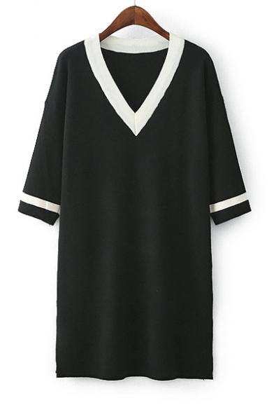 3/4 Sleeve V Neck Fashion Color Block Split Side Mini Shift Knit Dress