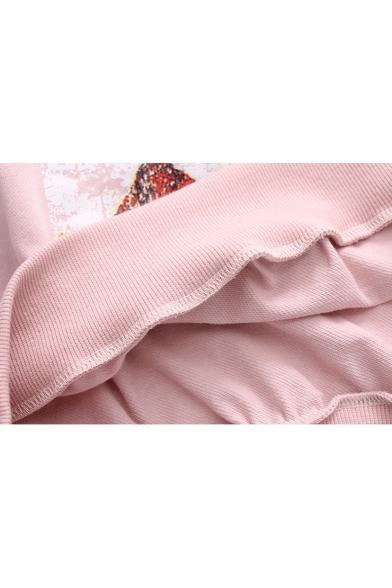 Cartoon Building Pattern Round Neck Long Sleeve Pullover Sweatshirt