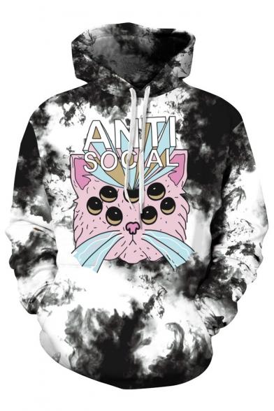 Printed Casual Long Hoodie Digital Loose Cartoon Sleeve Cat EqP68w1
